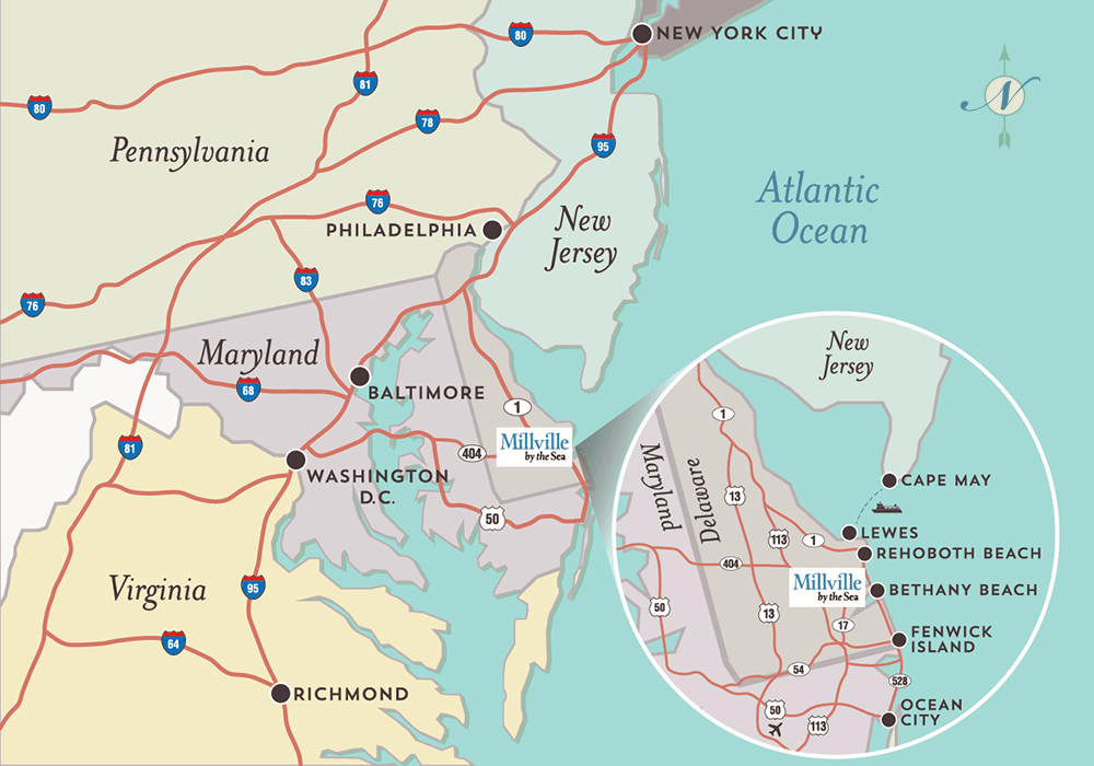 regional map of millville by the sea